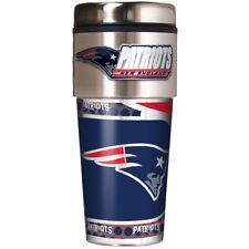 New England Patriots Coffee Mug Travel Tumbler Cup NFL Metallic Logo w/ Emblem