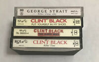 Country Music Cassette Tapes Lot (4) Music Clint Black & George Strait