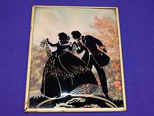 VINTAGE SILHOUETTE PICTURE FRAME COUPLE HOLDING HANDS IN THE SPRING
