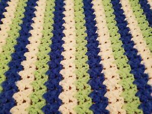 Contemporary Stripe Lime Blue White Handmade Afghan Throw Scalloped Edge