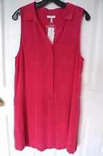 NEW Joie Nila Pleated Shift 100% Silk Dress in Watermelon Pink Size Small $338