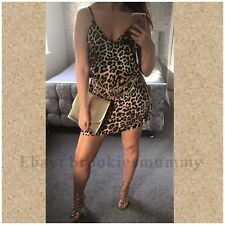 Sexy Animal Leopard Print Sateen Slip Dress Night Out Evening Party Size 6-8