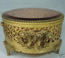 ANTIQUE ORMOLU JEWELRY CASKET TRINKET BOX VANITY BEVELED GLASS GOLD ROSE GARLAND
