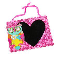 Pink Owl Love Heart Chalk Writing Message Black Board Blackboard