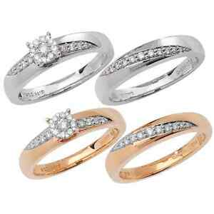 Diamond Engagement Ring & Wedding Bridal Set- 9ct White Gold or 9ct Yellow Gold