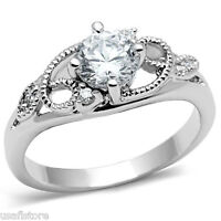 Ladies 0.85ct Clear CZ Stones White Gold EP Ring