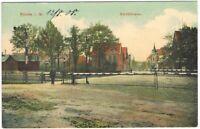 Ansichtskarte Bünde/Westfalen - Blick in die Kirchstrasse mit Bahnschranke 1908