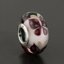 Genuine sterling silver pink murano glass butterfly kiss charm