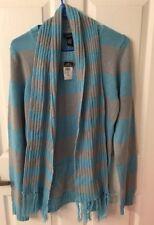 Rue 21 Blue W Gray Long Sleeve Striped Sweater W Removable Scarf Jrs Sz XL NWT