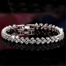 Women crystal zirconia tennis bracelet Chain Wedding silver Rose gold Jewelry