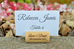 Personalized wine cork place card holder - Wedding card holder - dark