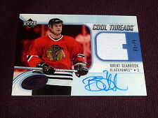 05-06 UD Ice Cool Threads Brent Seabrook AUTO Jersey RC 1/35 1/1 1st in series