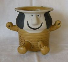 Vintage Stoneware Pottery Folk Art Figure Hanging Pot