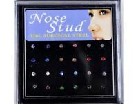 24er Set Nasenstecker Nasenpiercing Strass verschiedene Farben NEU & Verpackt