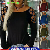 Plus Size Women's Cold Sleeve Slim T-Shirts Ladies Summer Casual Blouse Tops Tee