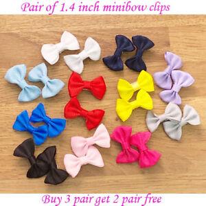 "mini - 1.4 Inch 1.4"" Baby Girls kids pony clip Hair Bows Ribbon Clips School"