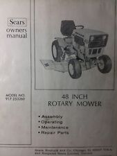 """Sears SS/16 ST/12 Suburban 48"""" Mower Deck Owner & Parts Manual 20pg 917.253260"""