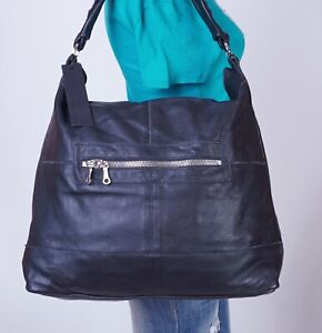 TYLIE MALIBU Extra Large Black  Leather Shoulder Hobo Tote Satchel Purse Bag