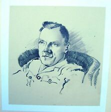 Ritratto Militare Seconda guerra mondiale RAOC ufficiale in sedia a forma di matita Robert Lyon c1941