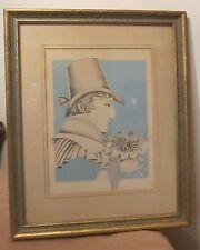 vintage original figural man flower stylized portrait pencil drawing painting