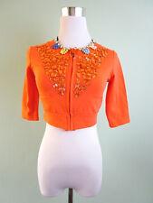 Womens Orange Petite Jewel Embellished Crop Short Jacket Cape size 8 10 S I15
