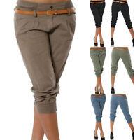 Women's Treggings  Capri Trousers Summer Pants Slim Fit Calf Length LO