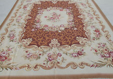 8' X 10' Vintage French Aubusson Rose Garland Rug Coffee Hand-woven Floral Beige