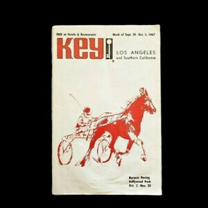Vintage Los Angeles Key Magazine 1967 Harness Racing Front Cover Hollywood Park