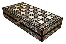 VINTAGE SYRIAN MOSAIC BACKGAMMON BOX & CHESS BOARD w pieces