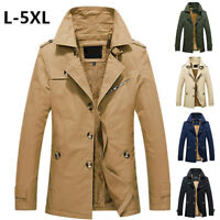 Chic Mens Single Breasted Lapel Parka Warm Outwear Jacket Coat Trench Peacoat