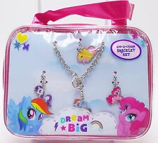 Girls My Little Pony Dream Big Add-a-Charm Bracelet Set 4 Charms Bonus Purse New