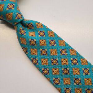 2A) TED BAKER TEAL GEOMETRIC 100% WOOL COTTON BLEND NECKTIE MADE IN USA