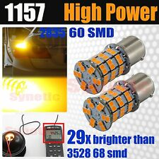 2x 1157 HiPower 2835 Chip LED Amber Yellow Turn Signal 440LM Dual Filament Bulbs