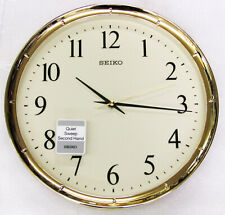 "NEW SEIKO  GOLD TONE RIM WALL CLOCK, QUIET SWEEP , 12.2 "" DIAMETER  QXA417GLH"