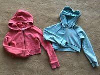 LOT 2 GAP GIRLS CORAL & A.W. BLUE JACKETS SZ M 7 8 ZIP-FRONT LONG-SLEEVE HOODIES