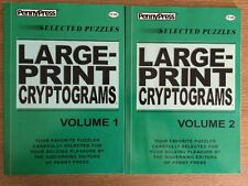 Lot of 2 LARGE PRINT CRYPTOGRAMS Penny Press Selected Puzzles DELL Variety