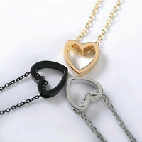 3Colors Charm Women Stainless Steel Heart Pendant Necklace Chain Lover Jewellery