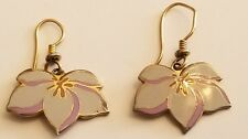 Laurel Burch Signed Pear Blossom hook style earrings