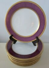 12 CROWN SUTHERLAND DINNER PLATES PURPLE BAND  HEAVY GOLD ENCRUSTED ENGLAND