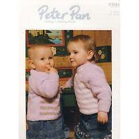"""Peter Pan Knitting Pattern P1014 Baby Striped Sweater Cardigan 16-22"""" Darling DK"""