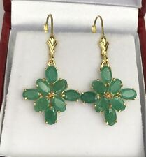 14k Solid Gold Leverback Diamond Shape Dangle Earrings, Natural Emerald 3.5TCW