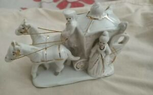 Vintage  Horse And Carriage Ornament white and gold color wide 6ins length 5ins