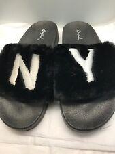 Qupid Black Faux Fur Slide NY Size US 7