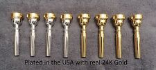 Gold Plated Rim and Cup Bach Style 3C Trumpet Mouthpiece  **Plated in the USA**
