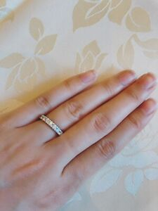 ROBERTO COIN 18K GOLD U SETTING ETERNITY BAND DIAMOND RING Size 6