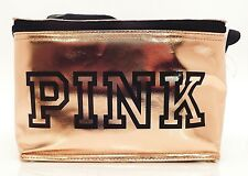 "VICTORIA'S SECRET ""PINK"" GOLD ZIPPER TRAVEL CASE WITH MATCHING DRINK HOLDER NEW!"