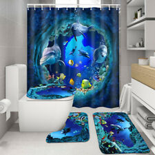 US 4x Shark Deep Sea Bathroom Shower Curtain Pedestal Rug Bath Mat Toilet Cover