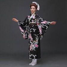 Japanese Kimono Vintage Yukata Floral Gown Robe Haori Costume Dress with Obi