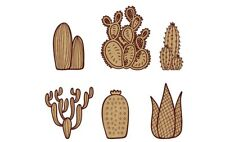 Picture-Scrapbook-box #CACT008-100mm 2 PCS Mixed Cactus plants scene MDF blanks
