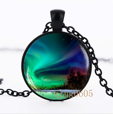 Northern lights photo Glass Dome black Chain Pendant Necklace wholesale